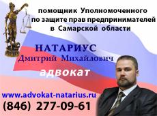 адвокат Самары Натариус Д.М. по гражданским, уголовным, административным делам, процедуры банкротства, юридическое сопровождение бизнеса